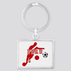 Peru Football Player Landscape Keychain