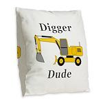 Digger Dude Burlap Throw Pillow