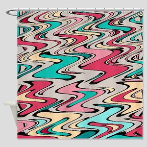 Distorted Paint Runs Shower Curtain