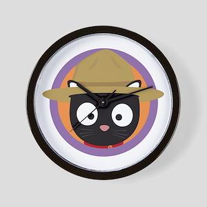 Park ranger cat in purple circle Wall Clock