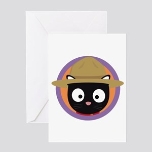 Park ranger cat in purple circle Greeting Cards