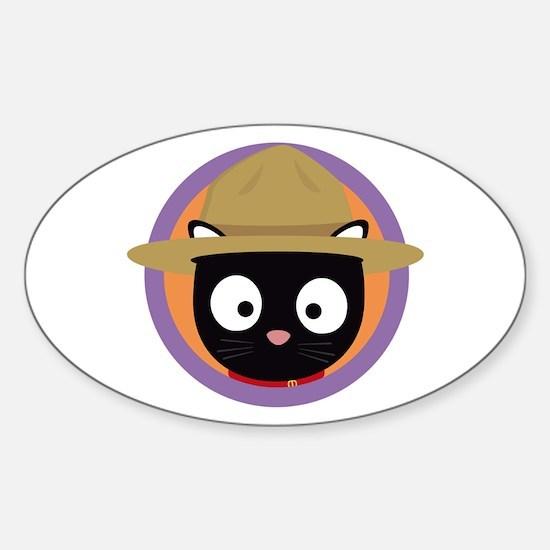 Park ranger cat in purple circle Decal