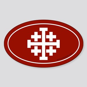 Jerusalem Cross Sticker -Red (Oval)