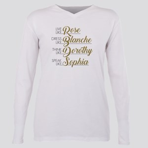 Live, Dress, Think, Spea Plus Size Long Sleeve Tee