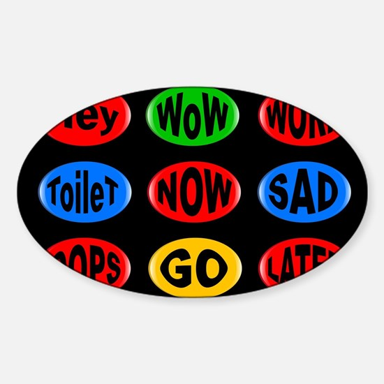 Oval Button Funny Decal