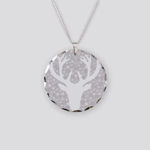 Snowflakes and deer Necklace Circle Charm
