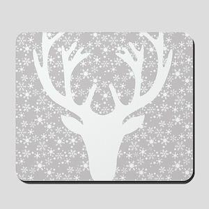 Snowflakes and deer Mousepad