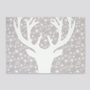 Snowflakes and deer 5'x7'Area Rug