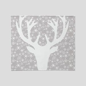 Snowflakes and deer Throw Blanket