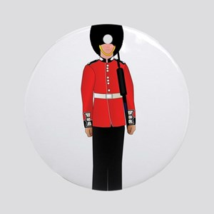 British Soldier On Guard Duty Round Ornament