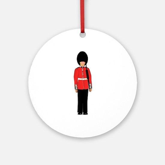 British Soldier On Guard Duty Round Ornament