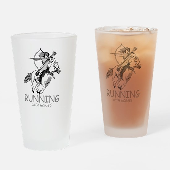 running with horses Drinking Glass