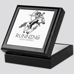 running with horses Keepsake Box