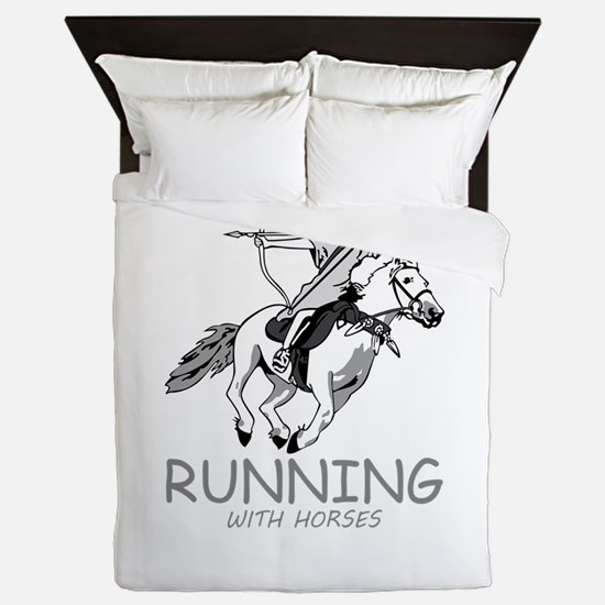 running with horses Queen Duvet