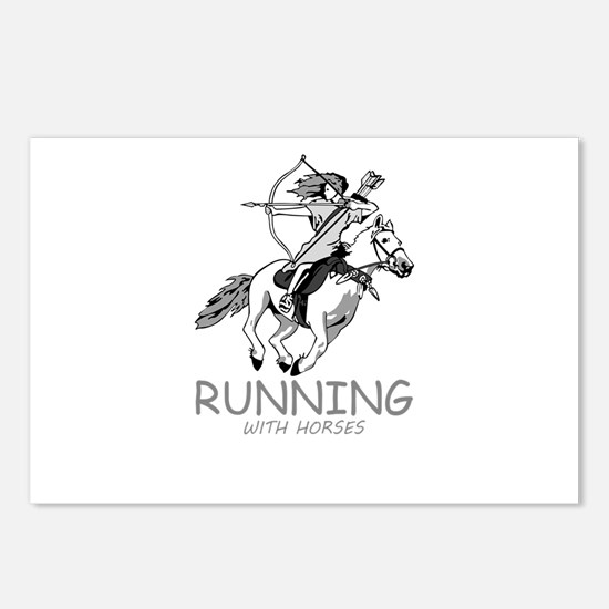 running with horses Postcards (Package of 8)