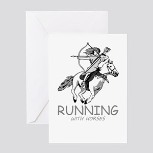 running with horses Greeting Cards