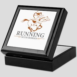running with horses Keepsake Box