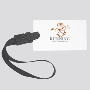 running with horses Large Luggage Tag