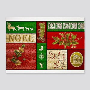 Vintage Holiday collage 5'x7'Area Rug