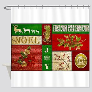 Vintage Holiday collage Shower Curtain