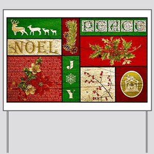 Vintage Holiday collage Yard Sign