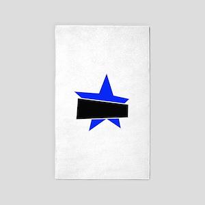 Blue banded star Area Rug