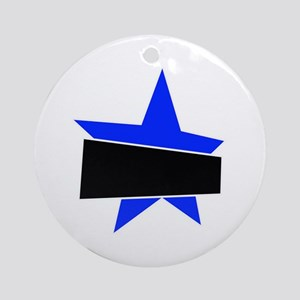 Blue banded star Round Ornament