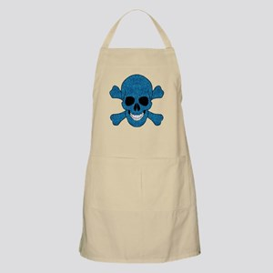 Faux Blue Glitter Skull And Crossbones Apron
