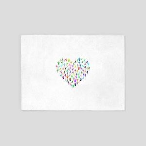 Rainbow Yogi Heart 5'x7'Area Rug