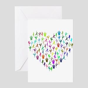 Rainbow Yogi Heart Greeting Cards