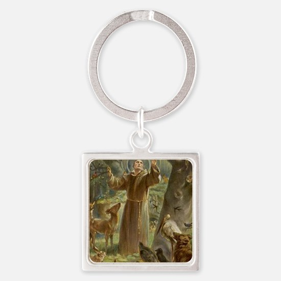 Unique St francis of assisi Square Keychain