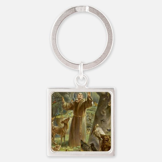 Cute St francis of assisi Square Keychain