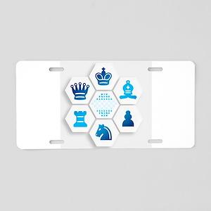 Chess on Hexagonal Tiles Aluminum License Plate
