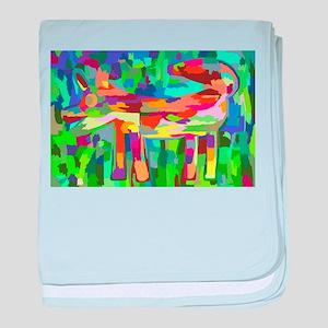 Watercolor Rainbow Fox baby blanket