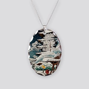 Cool Japanese Oriental Snow Wi Necklace Oval Charm
