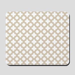 Brown, Beige: Quatrefoil Stars & Crosses Mousepad