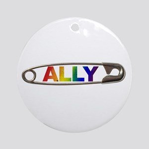 Safety Pin Ally Lgbtq Round Ornament