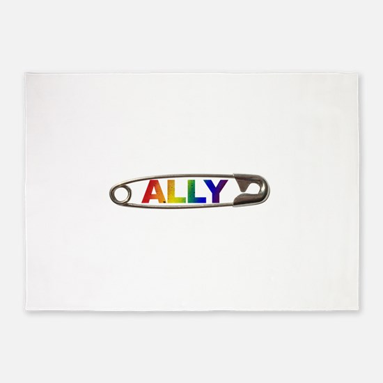 Safety Pin Ally LGBTQ 5'x7'Area Rug
