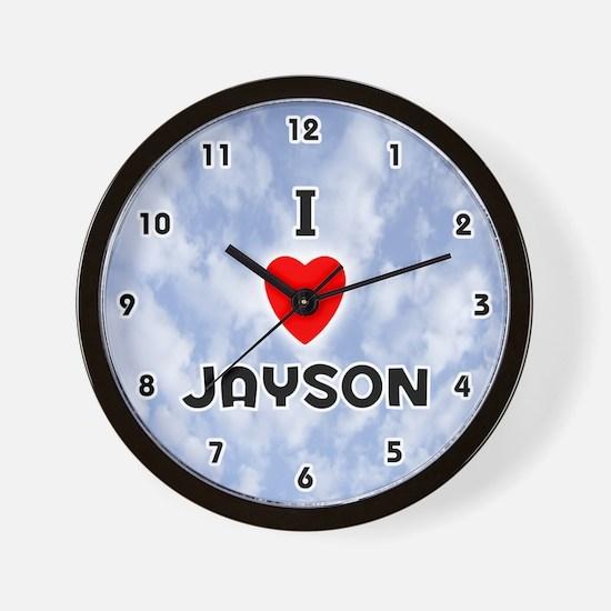 I Love Jayson (Black) Valentine Wall Clock