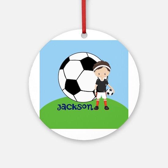 Soccer Kid Custom Round Ornament