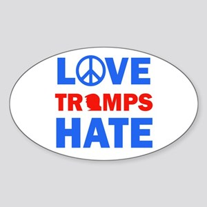 Love Trump Hates Sticker (Oval)