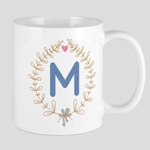M Monogram Wreath Mugs