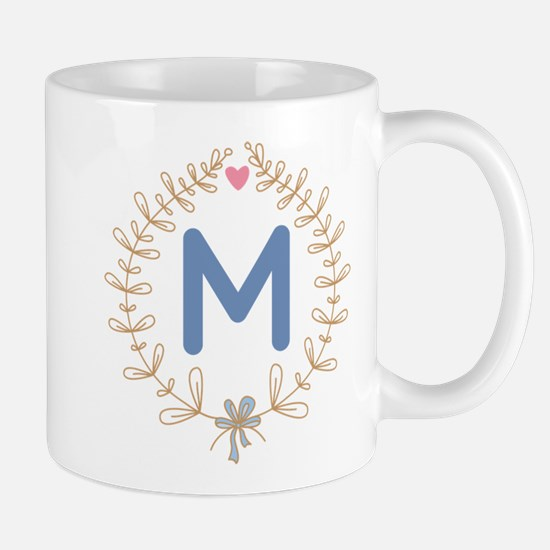 M Monogram Wreath Mugs