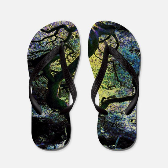 Funny Stained glass art Flip Flops