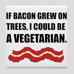 Bacon Grew Trees Vegetarian Tile Coaster