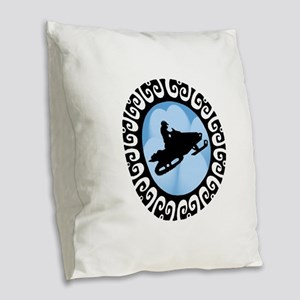 SNOWMOBILE Burlap Throw Pillow