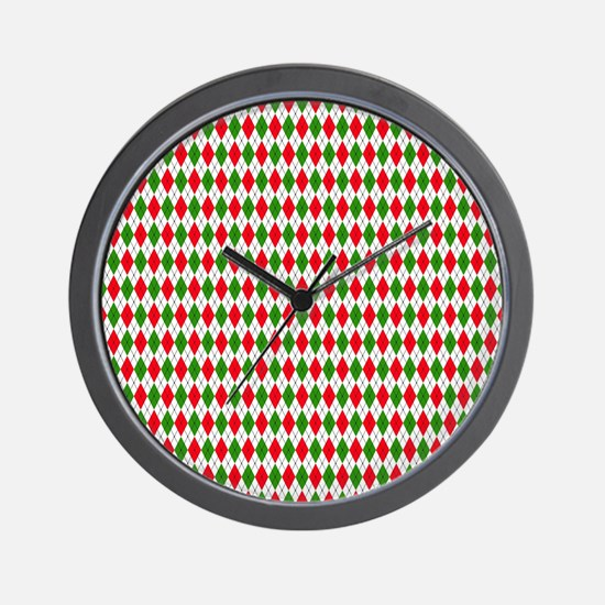 Christmas Argyle Wall Clock