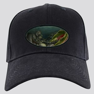 Gone Fishing Bear Art Black Cap