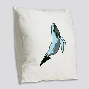 Awesome Whale Burlap Throw Pillow