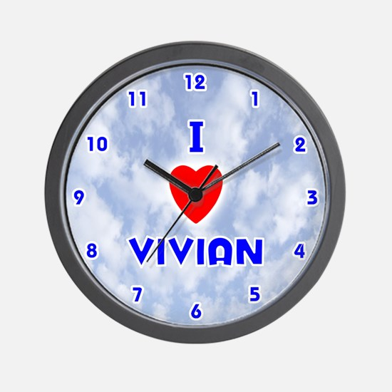 I Love Vivian (Blue) Valentine Wall Clock
